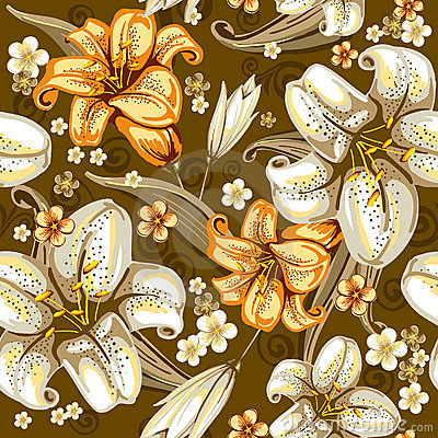 Free Seamless Pattern With Lilies Royalty Free Stock Images - 18811849