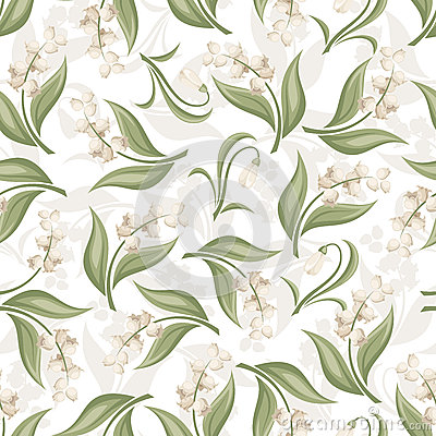 Free Seamless Pattern With Lily Of The Valley And Snowd Royalty Free Stock Image - 37495066