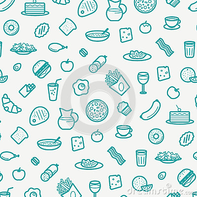 Free Seamless Pattern With Line Icons Of Food Like Sausage, Cake, Donut, Croissant, Bacon, Muffins, Coffee, Salad Etc. Stock Photo - 85081570