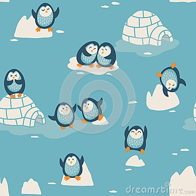 Free Seamless Pattern With Little Cute Penguins Royalty Free Stock Photography - 50923257