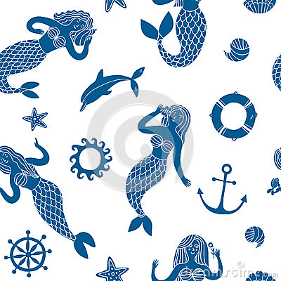 Free Seamless Pattern With Lovely Cartoon Mermaids Royalty Free Stock Photo - 78168525