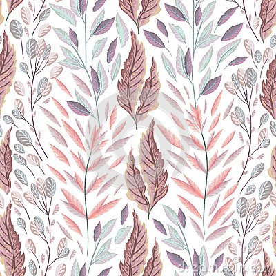 Free Seamless Pattern With Marine Plants, Leaves And Seaweed. Hand Drawn Marine Flora In Watercolor Style. Royalty Free Stock Photography - 104048457