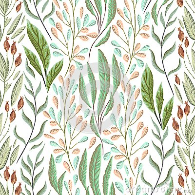 Free Seamless Pattern With Marine Plants, Leaves And Seaweed. Hand Drawn Marine Flora In Watercolor Style. Royalty Free Stock Photo - 104222685