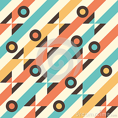Free Seamless Pattern With Multicolored Stripes And Circles. Stock Image - 47208071