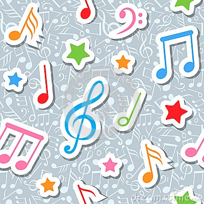 Free Seamless Pattern With Music Notes And Stars Royalty Free Stock Images - 26051089