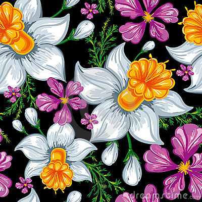 Free Seamless Pattern With Narcissus And Iris Stock Photography - 18181402