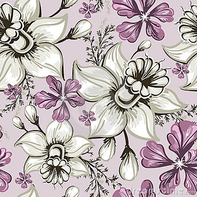 Free Seamless Pattern With Narcissus And Iris Royalty Free Stock Photos - 18181438