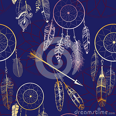 Free Seamless Pattern With Native American Indian Dream Catcher Stock Photo - 77011550