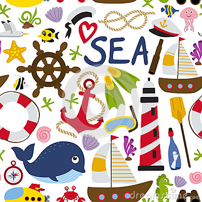 Free Seamless Pattern With Nautical Element Stock Image - 90308231