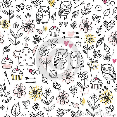 Free Seamless Pattern With Owls, Flowers, Cupcakes, Arrows, Cherries, Hearts. Funny Vector Illustration. Hand Drawn Elements. Stock Photography - 99701552