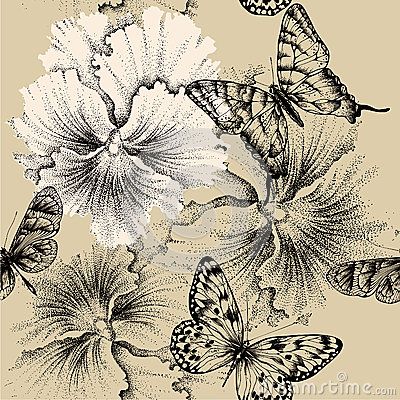 Free Seamless Pattern With Pansies And Butterflies. Vec Stock Photography - 29557312