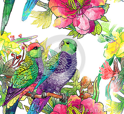 Free Seamless Pattern With Parrots And Flowers Royalty Free Stock Photos - 29413258