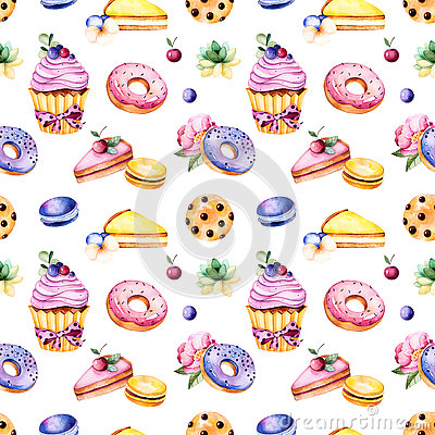 Free Seamless Pattern With Peony Flower,leaves,succulent Plant,tasty Cupcake,pansy Flower,macaroons,donuts,cookies,lemon And Cherry Che Royalty Free Stock Photo - 73172605