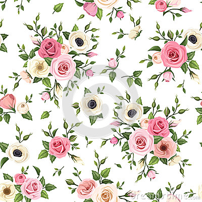 Free Seamless Pattern With Pink And White Roses, Lisianthus And Anemone Flowers. Vector Illustration. Royalty Free Stock Photography - 49805867