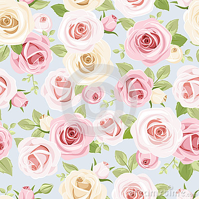 Free Seamless Pattern With Pink And White Roses On Blue. Vector Illustration. Royalty Free Stock Photo - 43530145