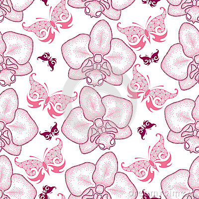 Free Seamless Pattern With Pink Dotted Moth Orchid Or Phalaenopsis And Ornate Butterflies On The White Background. Royalty Free Stock Photo - 67790355