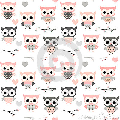 Free Seamless Pattern With Pink Owls, Hearts And Branches Stock Photography - 91098772