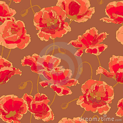 Free Seamless Pattern With Poppy Royalty Free Stock Photography - 18801847