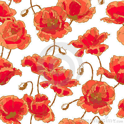 Free Seamless Pattern With Poppy Royalty Free Stock Images - 18931679