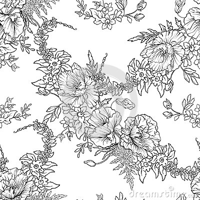 Free Seamless Pattern With Poppy Flowers Daffodil, Anemone, Violet In Stock Image - 94747231