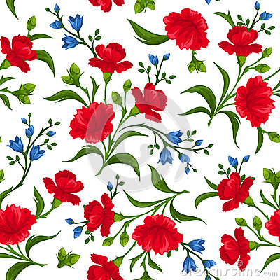 Free Seamless Pattern With Red And Blue Flowers. Vector Illustration. Royalty Free Stock Photography - 51748347
