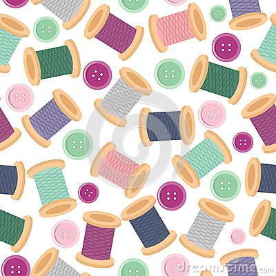 Free Seamless Pattern With Reels Of Thread And Buttons Stock Photo - 24666440