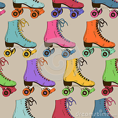 Free Seamless Pattern With Retro Roller Skates Royalty Free Stock Photos - 38599278