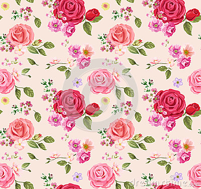 Free Seamless Pattern With Roses. Floral Background. Design Composition Stock Photography - 52392832