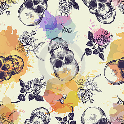 Free Seamless Pattern With Skulls And Rose Flowers Drawn In Engraving Style And Translucent Colorful Blots. Modern And Trendy Stock Photos - 86789373