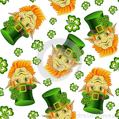 Free Seamless Pattern With Smiling Leprechaun Heads Royalty Free Stock Photography - 110171037
