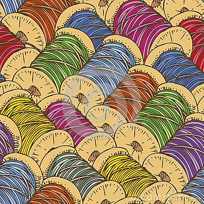 Free Seamless Pattern With Spools Of Thread Royalty Free Stock Image - 66199526