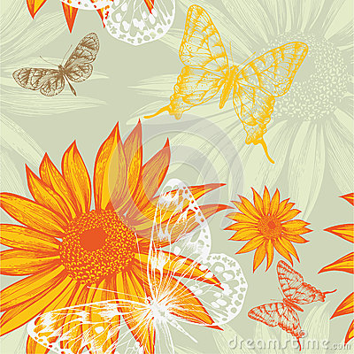 Free Seamless Pattern With Sunflowers And Butterflies, Royalty Free Stock Photo - 27315525