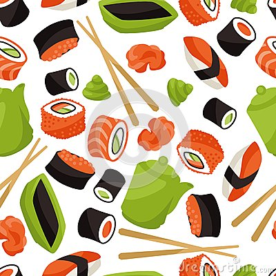 Free Seamless Pattern With Sushi Royalty Free Stock Photo - 49689115