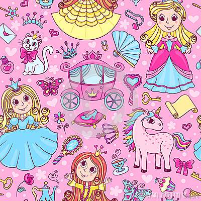 Free Seamless Pattern With Three Cute Little Princesses Royalty Free Stock Photography - 50532127