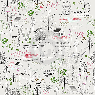 Free Seamless Pattern With Trees, Shrubs, Foliage, Animals On Light Background In Vintage Style. Stock Photo - 46709880