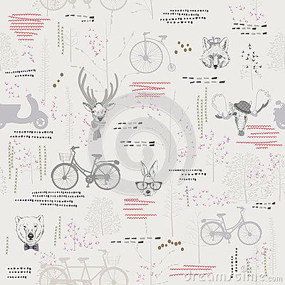 Free Seamless Pattern With Trees, Shrubs, Foliage, Animals On Light Background In Vintage Style. Stock Photo - 46710160