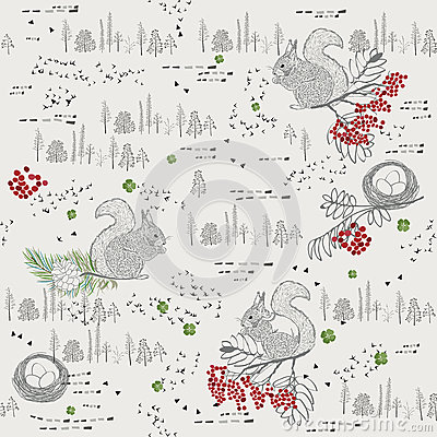 Free Seamless Pattern With Trees, Shrubs, Foliage, Animals On Light Background In Vintage Style. Stock Images - 46710614