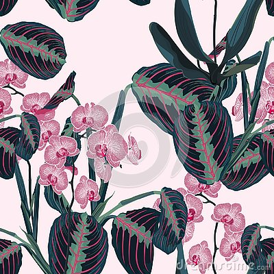 Free Seamless Pattern With Tropical Leaves And Exotic Plants. Dark Blue Palm Leaves And Pink Orchid Flowers On The Pink Background. Royalty Free Stock Photo - 131830025