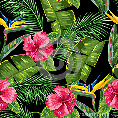 Free Seamless Pattern With Tropical Leaves And Flowers. Palms Branches, Bird Of Paradise Flower, Hibiscus Royalty Free Stock Photo - 84056035