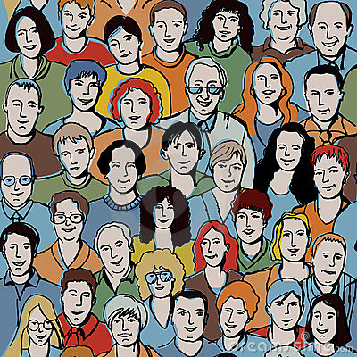Free Seamless Pattern With Unrecognizable People Faces. Royalty Free Stock Image - 21055586