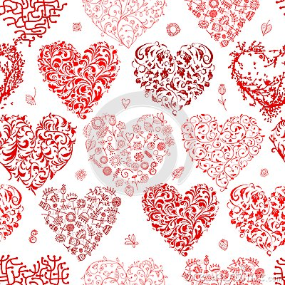 Free Seamless Pattern With Valentine Hearts For Your Royalty Free Stock Photos - 36717448