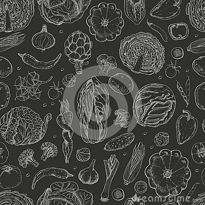 Free Seamless Pattern With Vegetables On A Black Background Royalty Free Stock Images - 83810039