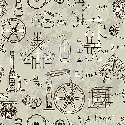 Free Seamless Pattern With Vintage Science Objects. Scientific Equipment For Physics And Chemistry. Stock Photography - 108103092