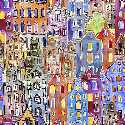Free Seamless Pattern With Watercolor Amsterdam Houses Royalty Free Stock Photos - 106732658