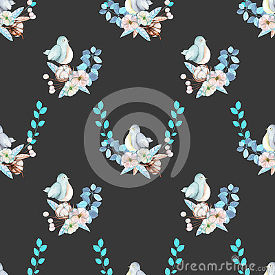 Free Seamless Pattern With Watercolor Cute Bird, Blue Plants, Flowers And Cotton Flower, Hand Drawn Isolated On A Dark Background Stock Photography - 82727872