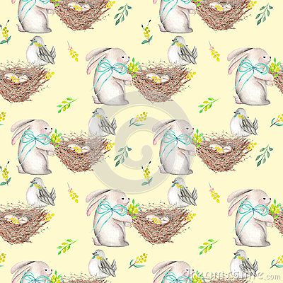 Free Seamless Pattern With Watercolor Easter Rabbits, Nests With Bird Eggs Royalty Free Stock Photos - 85434268