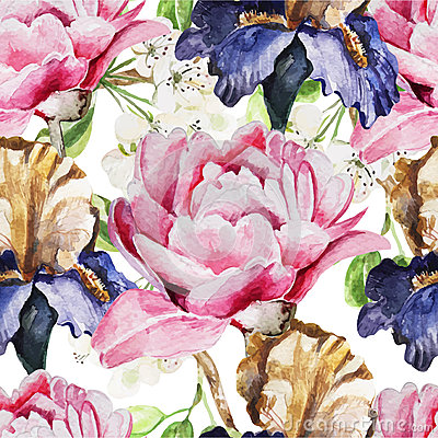 Free Seamless Pattern With Watercolor Flowers. Iris Stock Images - 54346464