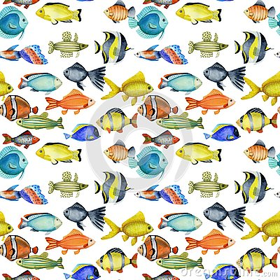 Free Seamless Pattern With Watercolor Oceanic Tropical Exotic Fishes Royalty Free Stock Images - 138658339