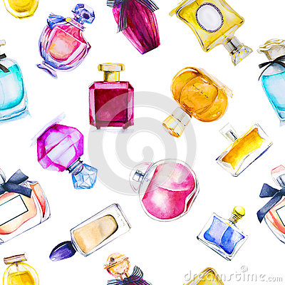 Free Seamless Pattern With Watercolor Perfumes Stock Image - 70419601