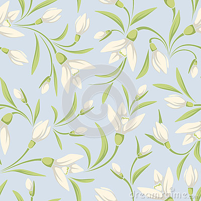 Free Seamless Pattern With White Snowdrop Flowers On A Blue Background. Vector Illustration. Royalty Free Stock Photography - 66429167